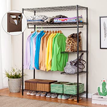 LANGRIA Portable Closet Wardrobe Garment Rack, Heavy Duty Commercial Grade Clothing  Garment Rack, Home