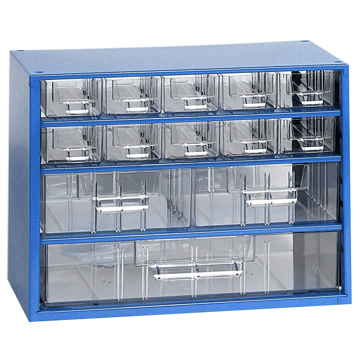 Schubladenmagazin - HxB 238 x 306 mm, 13 Schubladen - lichtblau - Klarsichtmagazin Kleinteilemagazin Lagersystem Magazin Schubladenmagazin Certeo