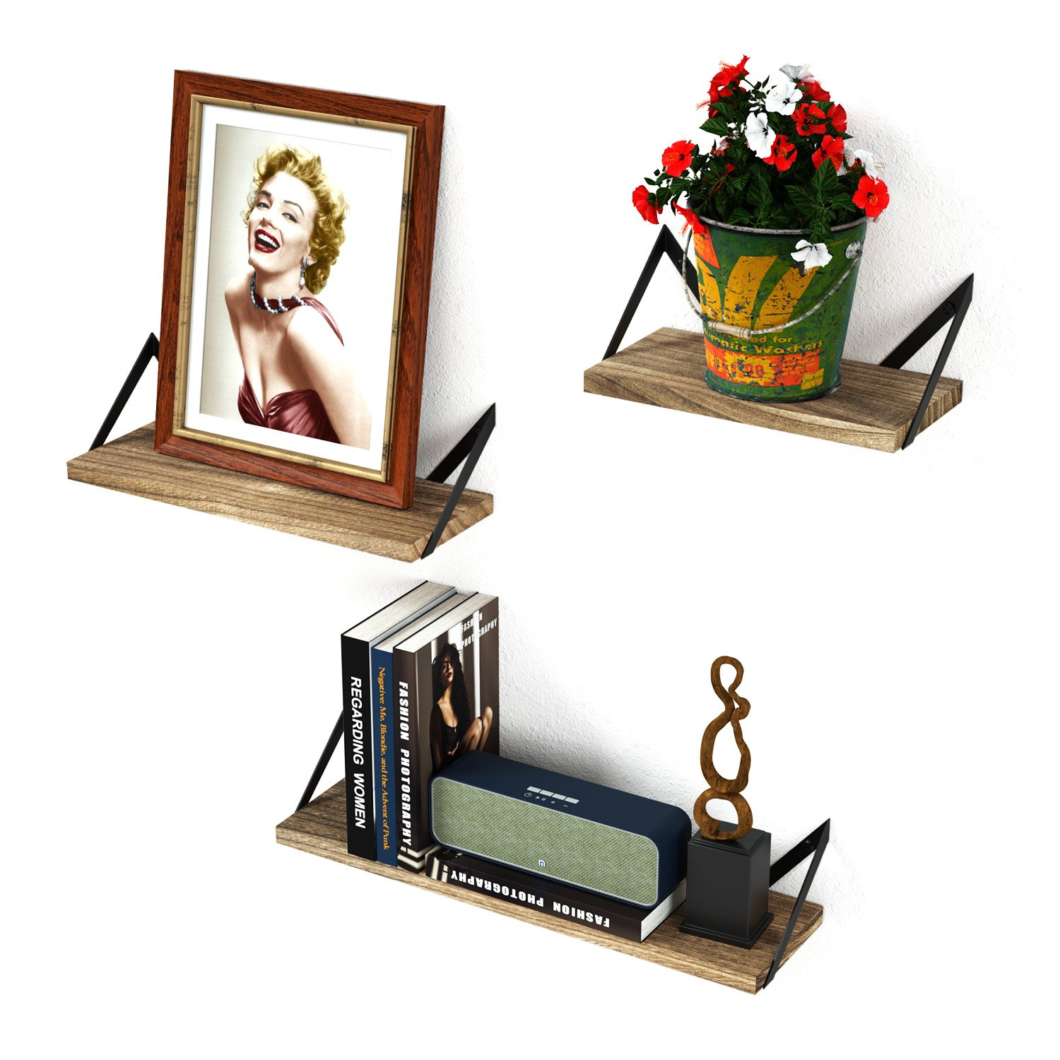 RooLee Rustic Floating Wall Mount Shelves Set of 3 Wood Storage Shelves Perfect Decor Any Room (Torched Finish)