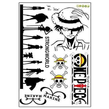 Etiqueta de la pared Carro Tatuaje One Piece Anime Ruffy Lufy