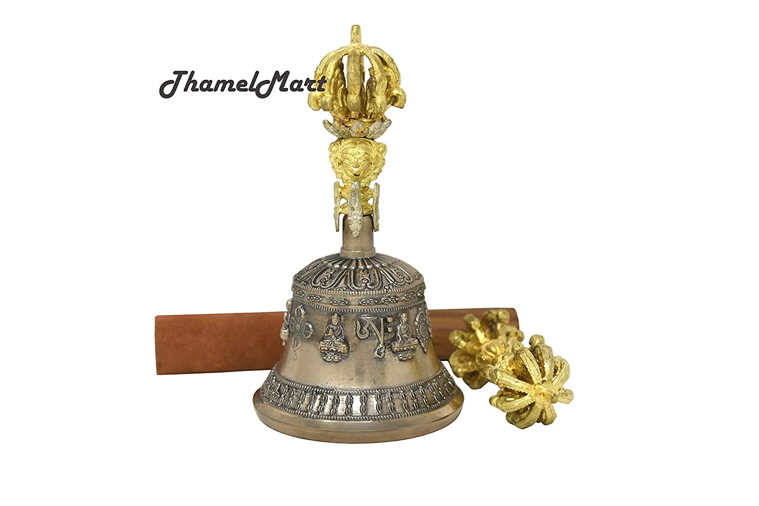 Tibetan Buddhist Meditation Bell and Dorje Set - Bell of Enlightenment from Nepal 7 Inches thamelmart tha-4286