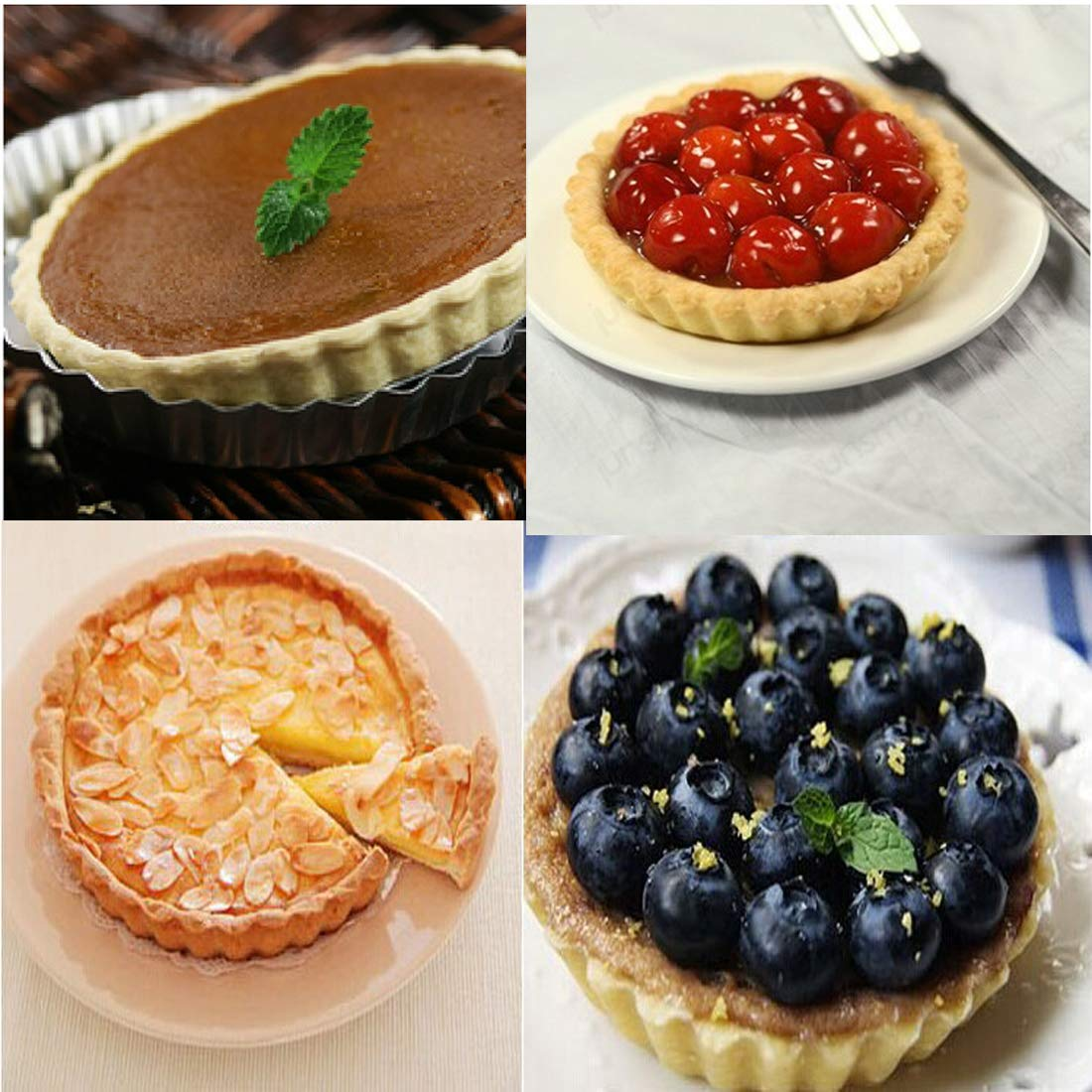 Tamicy 2 Pack Tart Pan with Removable Bottom(8.8 Inch /& 11 Inch)-Round Fluted Flan Quiche Pan Tart Pie Pan Removable Loose Bottom Quiche Pan FDA Approved for Oven Baking