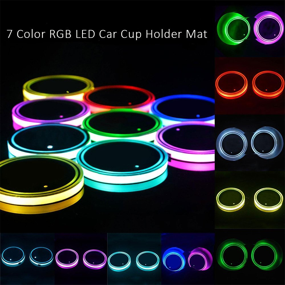 Amazon.es: Onerbuy Pack de 2, Solar RGB LED Car Cup Holder Mat Pad Impermeable Botella Bebidas Coaster Built-in Sensor de luz y Vibración Interior del Coche ...