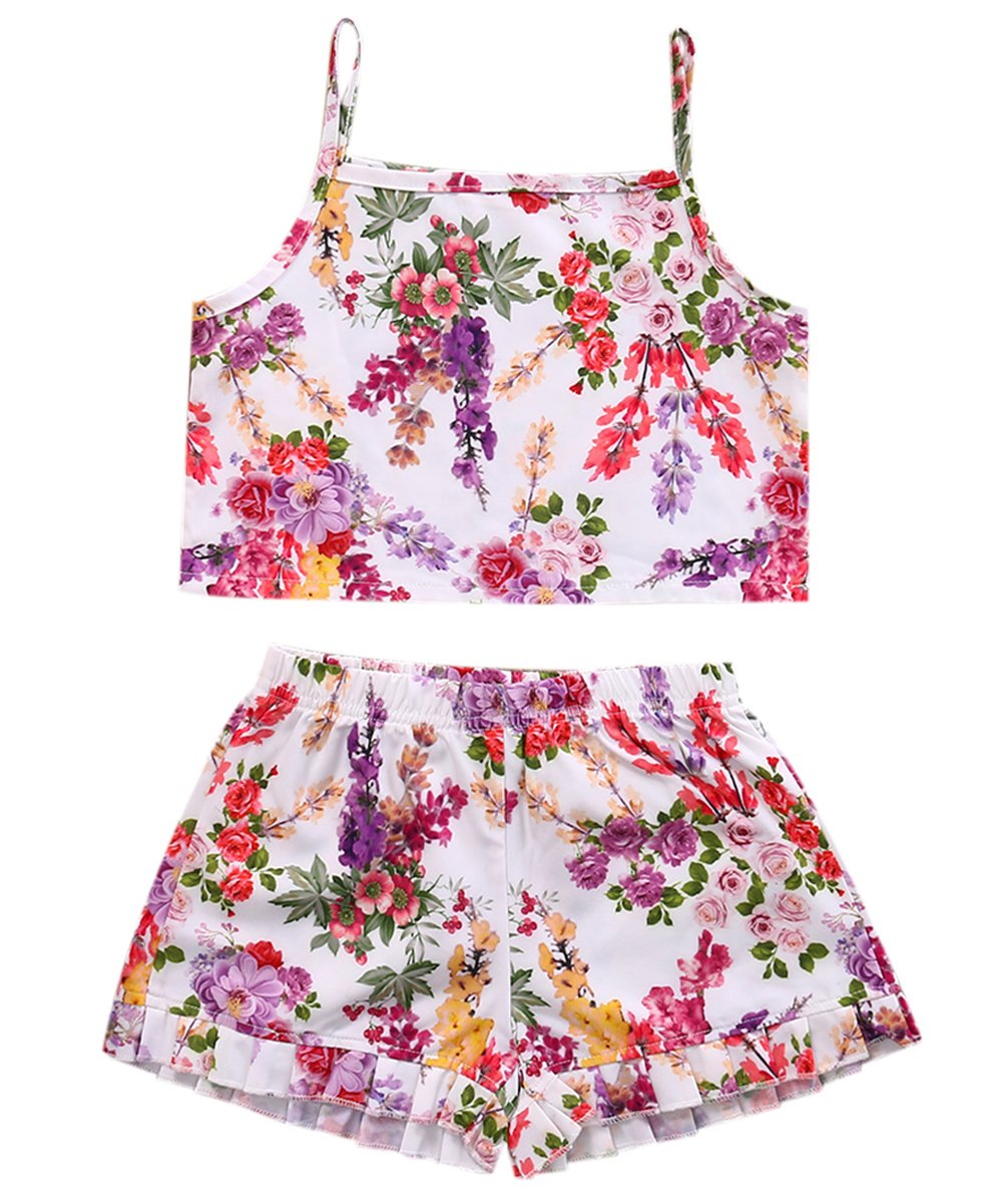 2PCS Toddlers Baby Girls Floral Outfits Clothes Crop Tank Tops+Shorts bloomer Sunsuit Set (3T, floral)