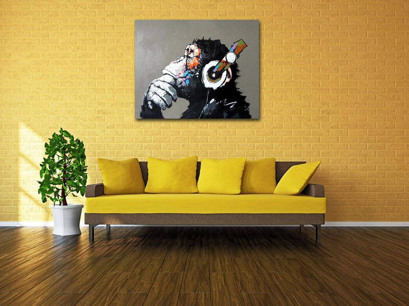 Amazon.com: Muzagroo Art Monkey Listening to Music Oil Paintings ...