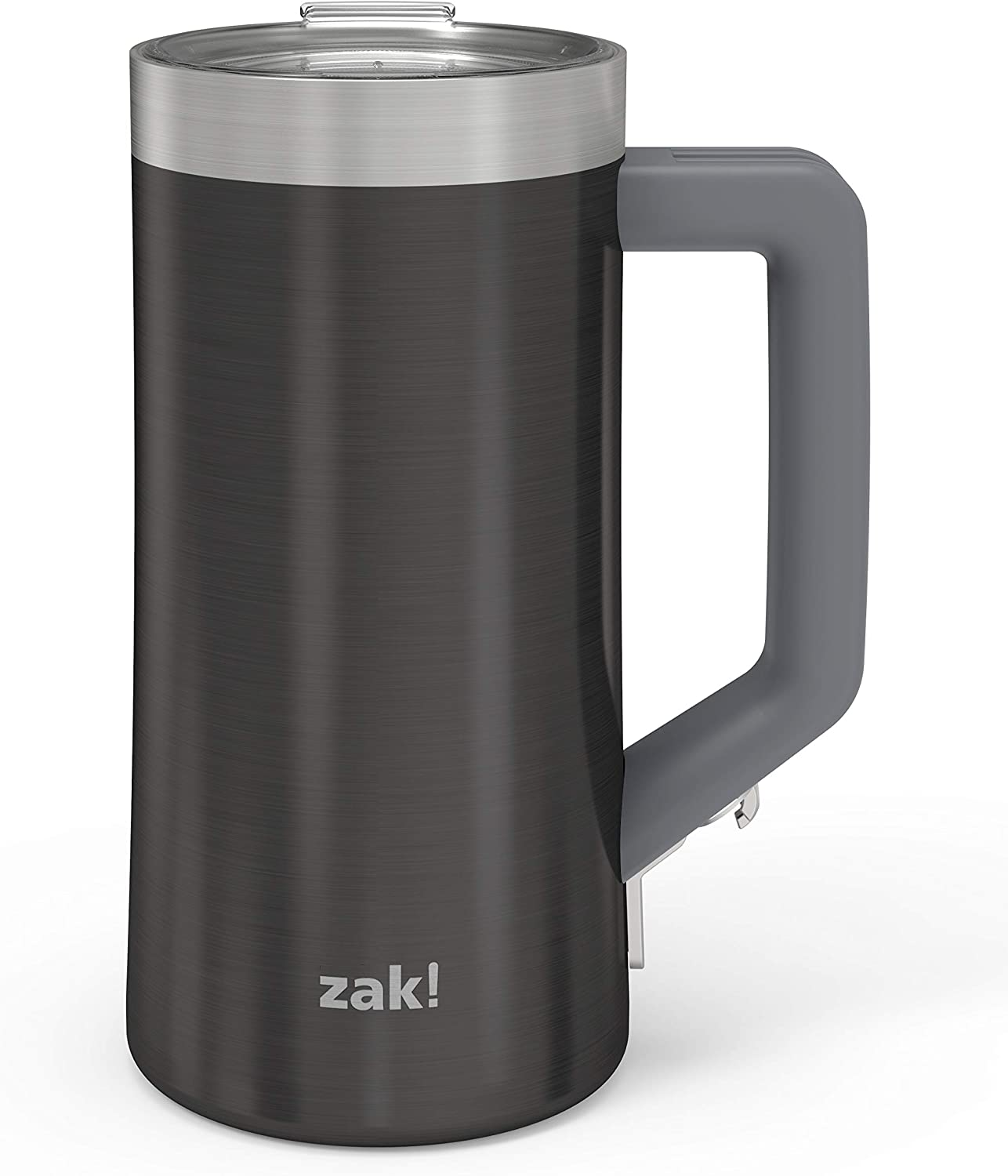 Zak Designs Creston Vacuum Insulated Stainless Steel Stein Mug with Press-In Lid and Splash-Proof Design, Includes Built-In Bottle Opener, Perfect for Indoor/Outdoor Activity (25oz, Black, BPA Free)
