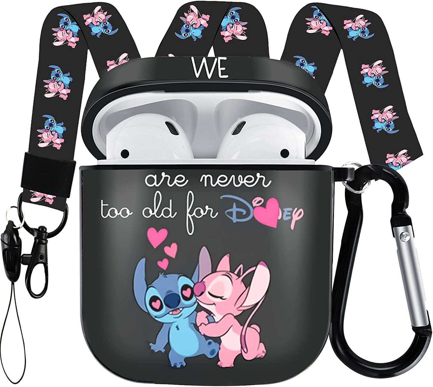 AirPods Case Protectiv Cover,Fully Protected Shockproof Cartoon case with Keychain Clip Carabiner and Lanyard,Compatible with Apple AirPods 2 and 1 (Stitch and Angel)