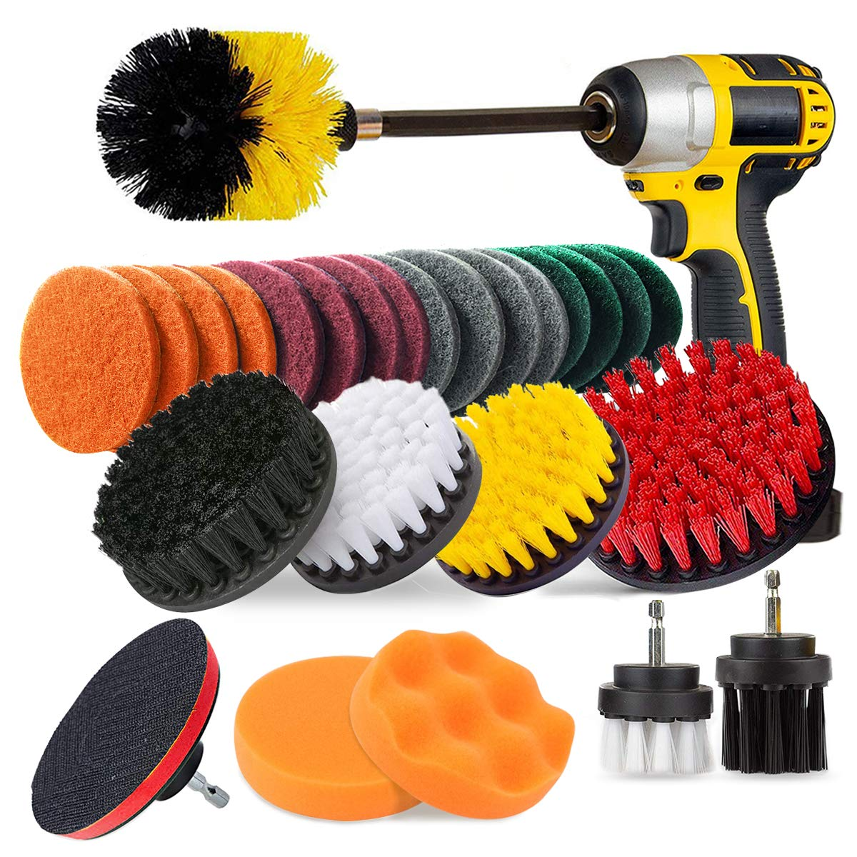 JUSONEY 28 Piece Drill Brush Attachment- Drifferent Size and Hardness- Premium Scrub Pads & Sponge- With Extend Long Attachment- Power Scrubber Brush Cleaning for Grout, Tiles, Sinks, Bathtub, Kitchen