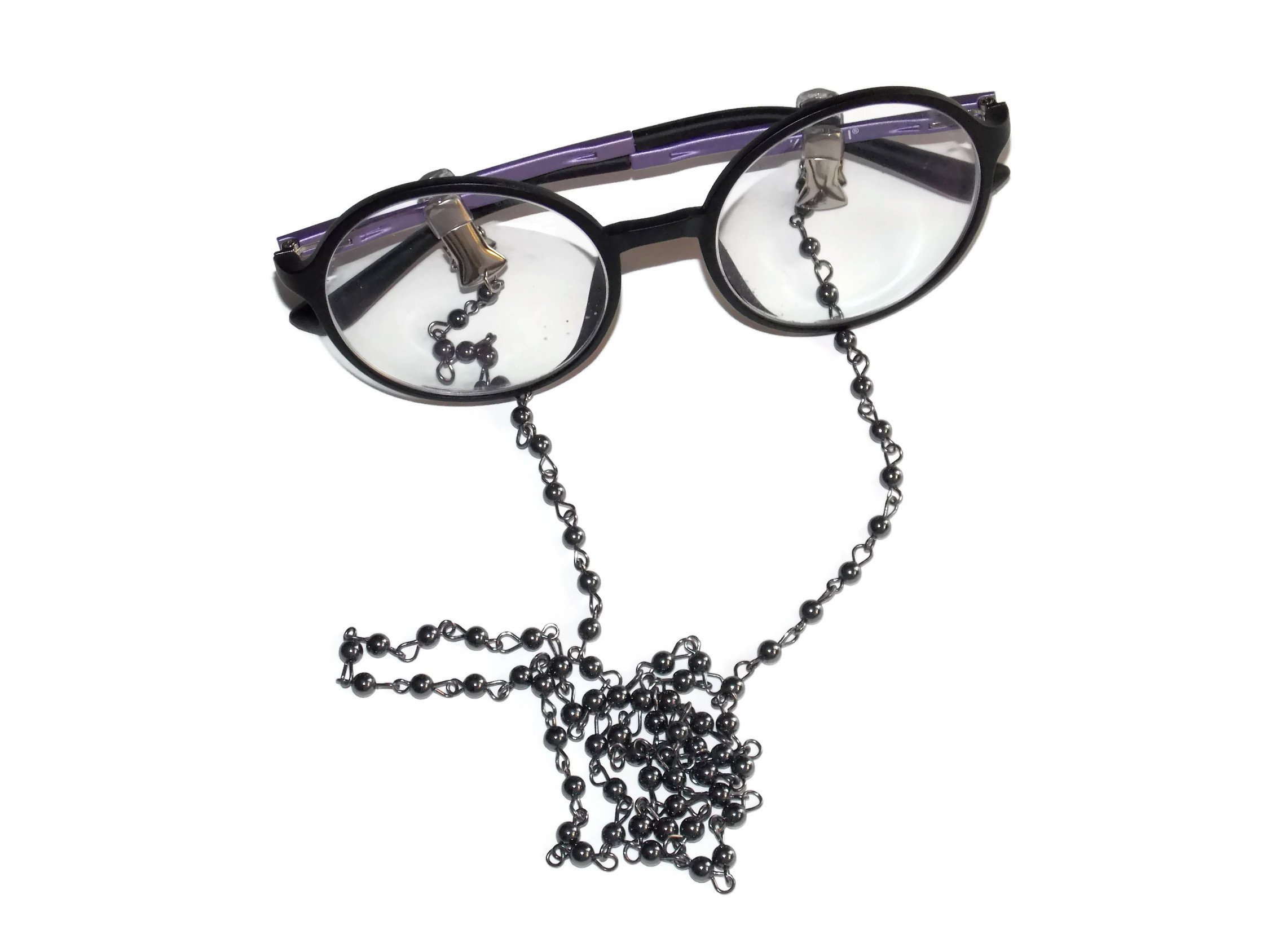 26 Inch Beaded Eyeglass Chain Vintage Style Clip On