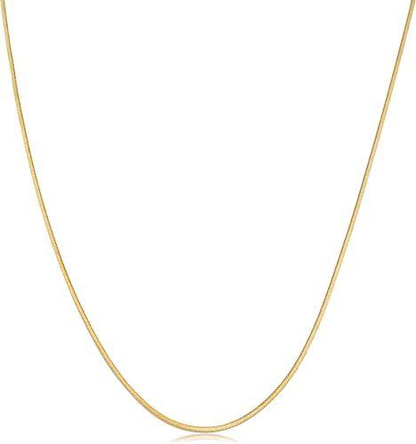 Polish Round Links Real 14K Solid Yellow Italian Gold 0.7mm Snake Chain Necklace