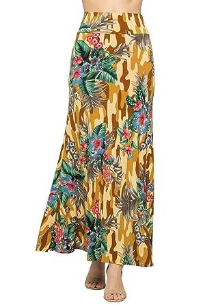 bb23a226466d Junky Closet Women's Foldover High Waisted Floor Length Maxi Skirt  (1X-Large, S222FCCT
