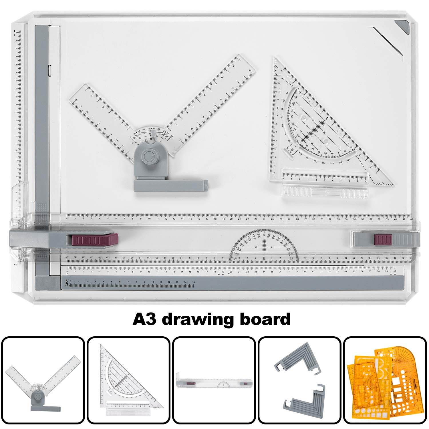 Drawing Board A3 Drafting Board Drawing Table Board Multi-Function Tool Set Graphic Architectural Adjustable Measuring System Angle for Construction Examination and Engineering Professional Templates by Aukiee