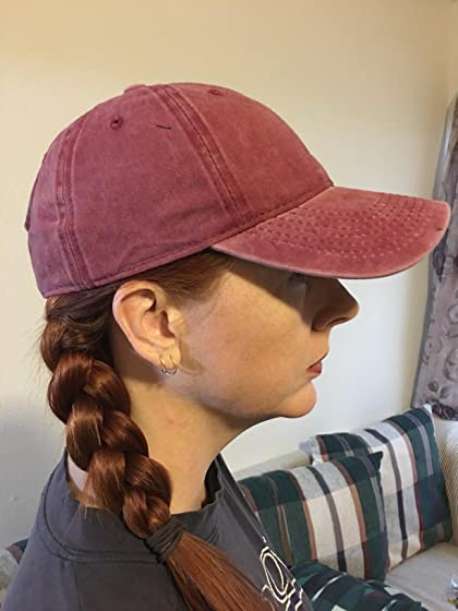 Edoneery Men Women Plain Cotton Adjustable Washed Twill Low Profile Baseball Cap Hat(A1008) LOVE IT!  ADORABLE~ Never too old for cute sunscreen!