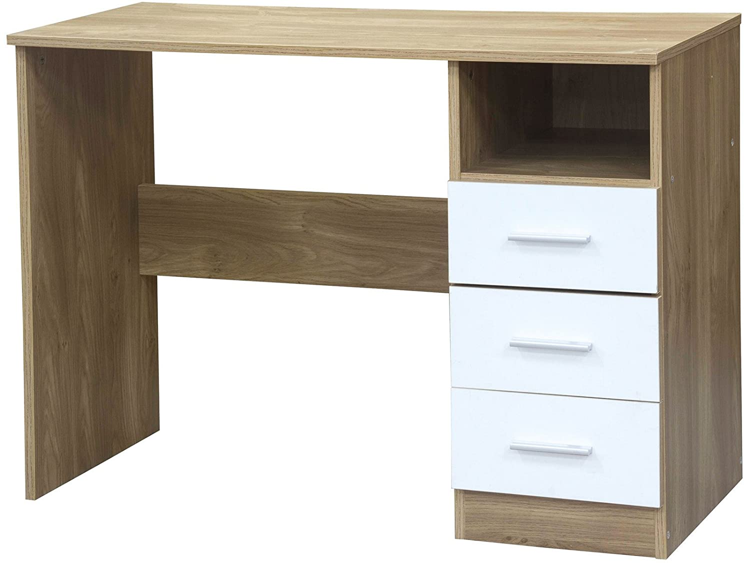 Home Source High Gloss Dressing Table | Study Desk with 3 Drawers - Ottawa Caspian SUPREME Range (Oak and White) Right Deals Uk