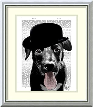 Image Unavailable. Image not available for. Color  Framed Art Print  Black  Labrador in Bowler Hat  by Fab Funky 2a75a2816231