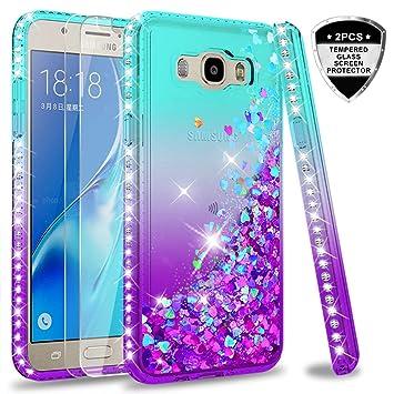 LeYi Compatible with Funda Samsung Galaxy J7 2016 Silicona Purpurina Carcasa con [2-Unidades Cristal Vidrio Templado],Transparente Cristal Bumper ...