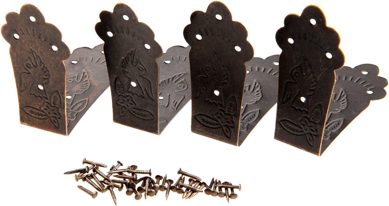 Dophee 8Pcs Antique Embossing Decorative Chest Case Box Corner Protectors Guard Edge Cover