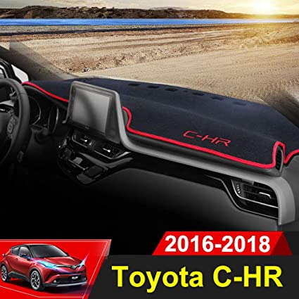 Beerte Black Car Dashboard Center Console Cover Protector Sunshield Cover Dash Mat Pad for Toyota CHR 2017 2018 2019 Polyester