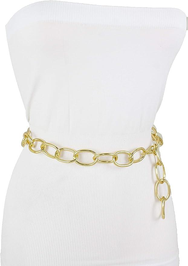 TFJ Women Fashion Belt Silver Metal Chain Hip High Waist BOSS Charm XL XXL