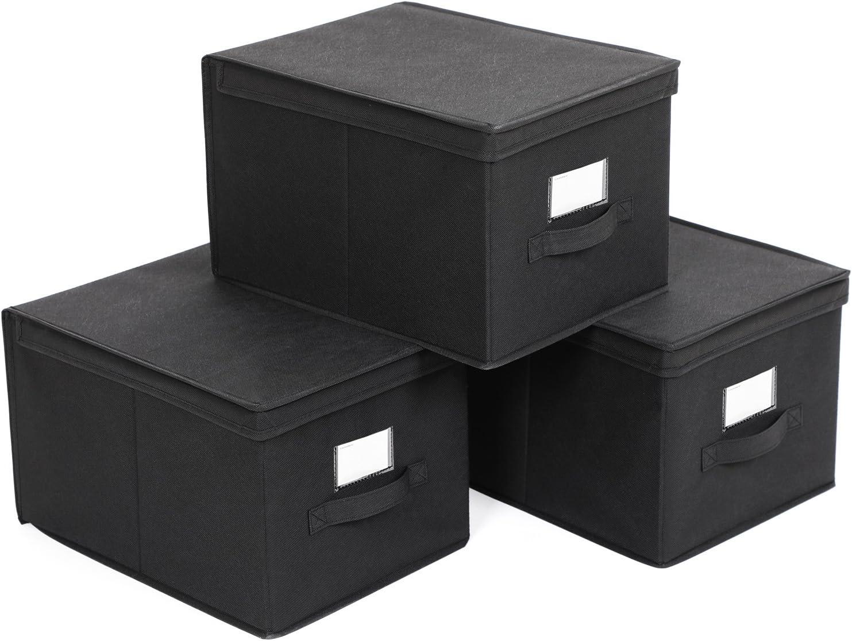 SONGMICS Set de 3 Cajas de Almacenaje Cubos de Tela Organizador Plegable con Tapa y Ventana de Etiqueta 40 x 30 x 25 cm Nergo RFB03H
