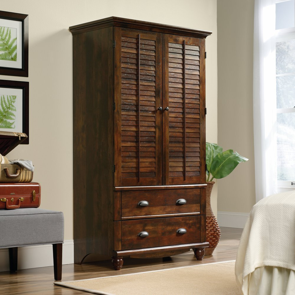 Amazon.com: Sauder Harbor View Armoire In Curado Cherry: Kitchen U0026 Dining