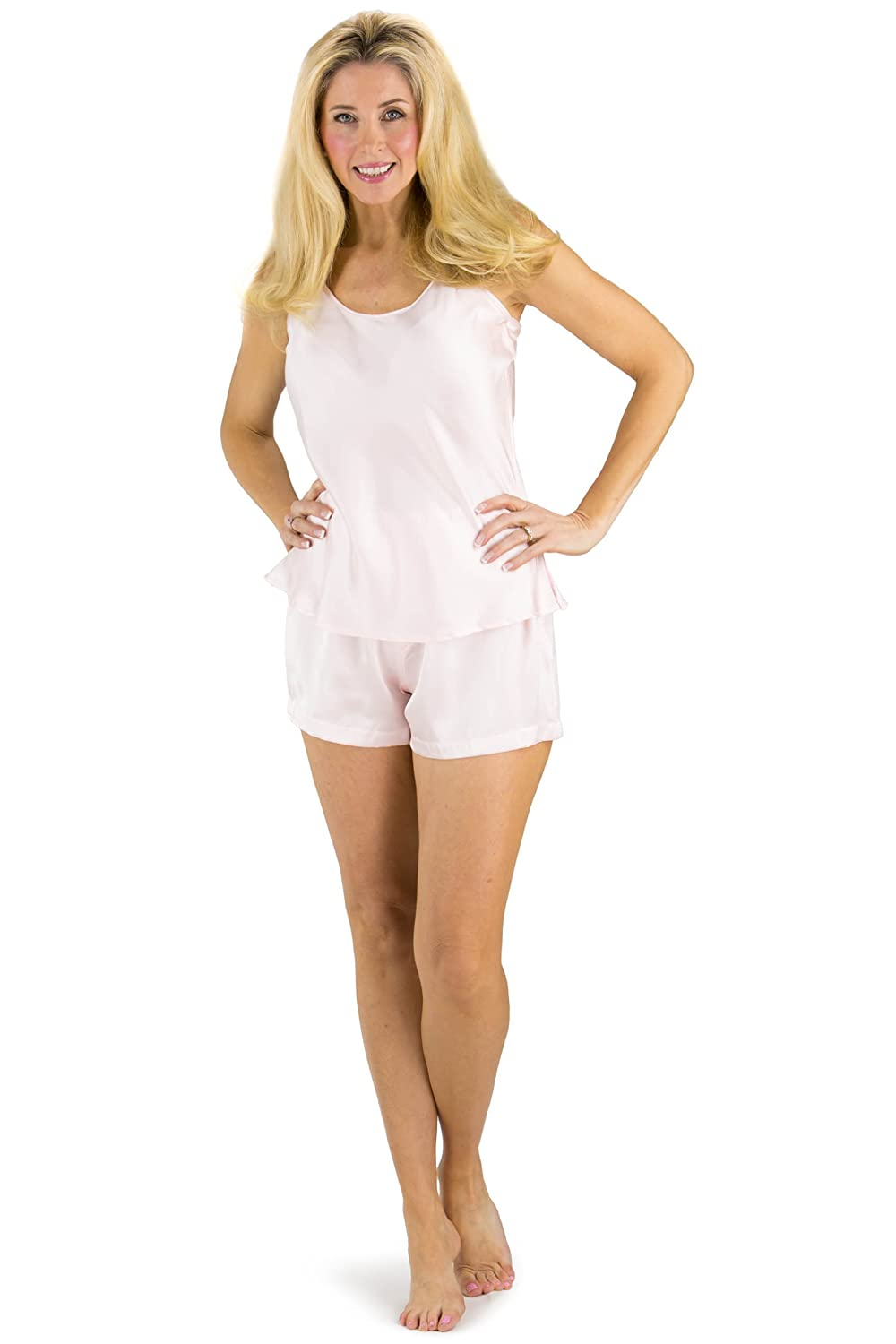 Fishers Finery Women s 100% Mulberry Silk Cami Boxer Pajama Set at Amazon  Women s Clothing store  1b8ac8367