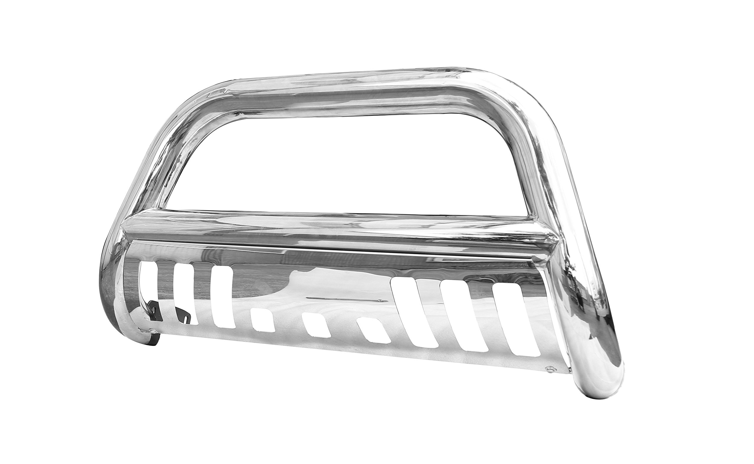 CAREPAIR Bull Bar Skid Plate Front Push Bumper Grille Guard Stainless Steel Chrome for 2011-2016 Ford F250/F350/F450/F550 Super Duty Pickup