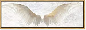 """The Oliver Gal Artist Co. Fashion and Glam Wall Art Framed Canvas Prints Soul' Wings Home Décor, 60"""" x 20"""", Gold, White"""