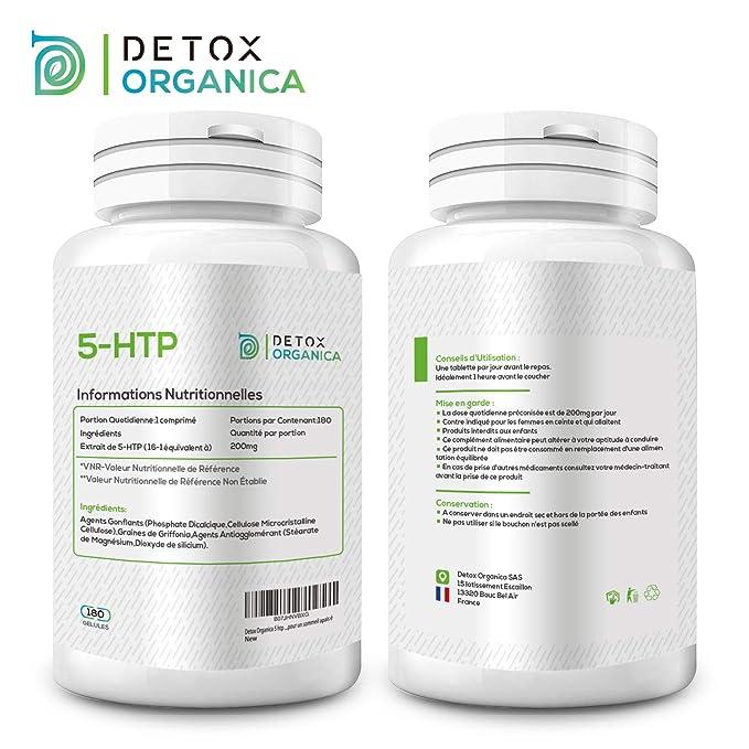 Detox Organica 5 HTP 200 mg-180 gélules Griffonia 100% naturel-cure de 6 mois-complément alimentos Vegan, estimulador de serotonina, regulador de Melatonina ...