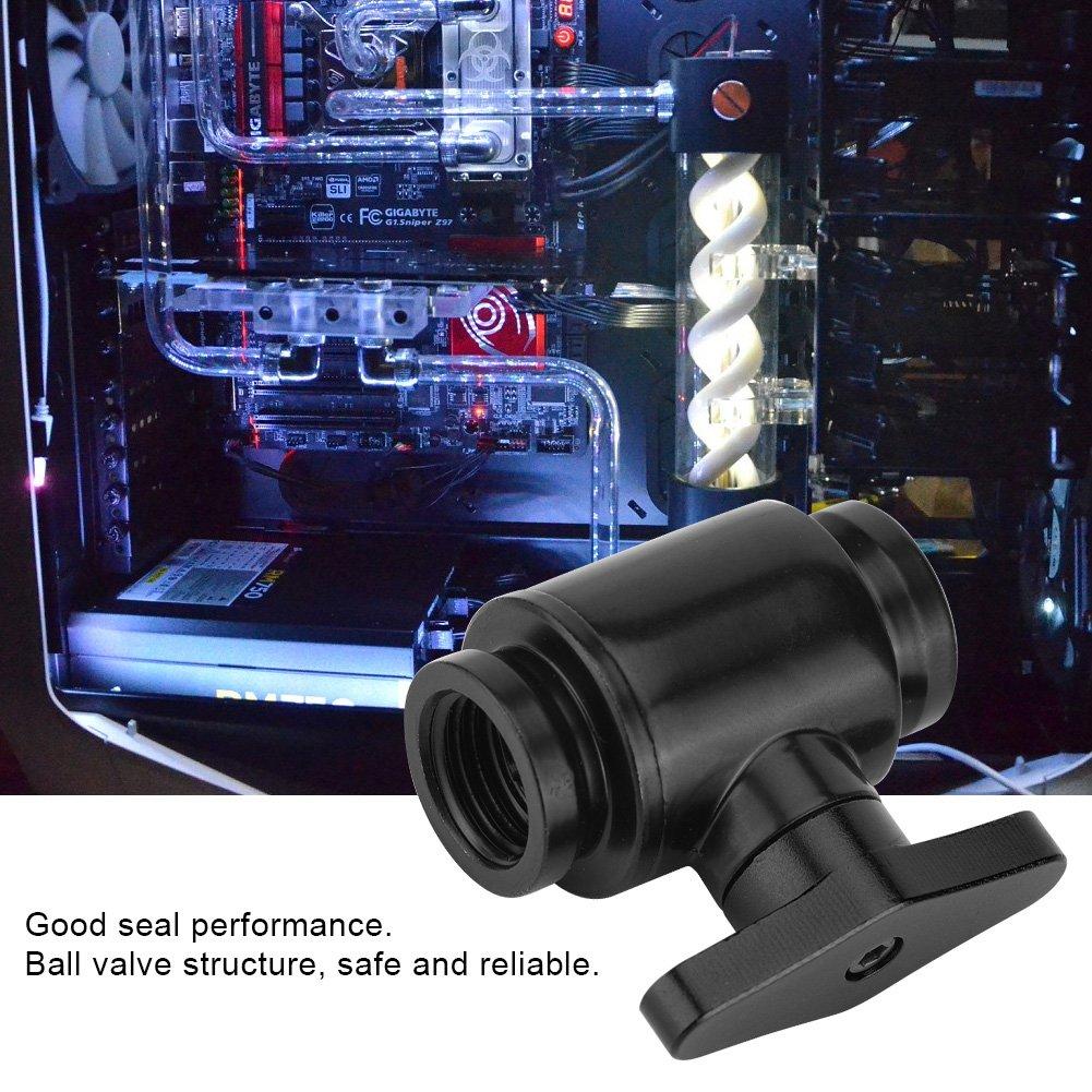 Richer-R G1 4Filettatura interna valvola acqua nera con maniglia in ottone nichelato in alluminio per computer Sistema di raffreddamento ad acqua nero