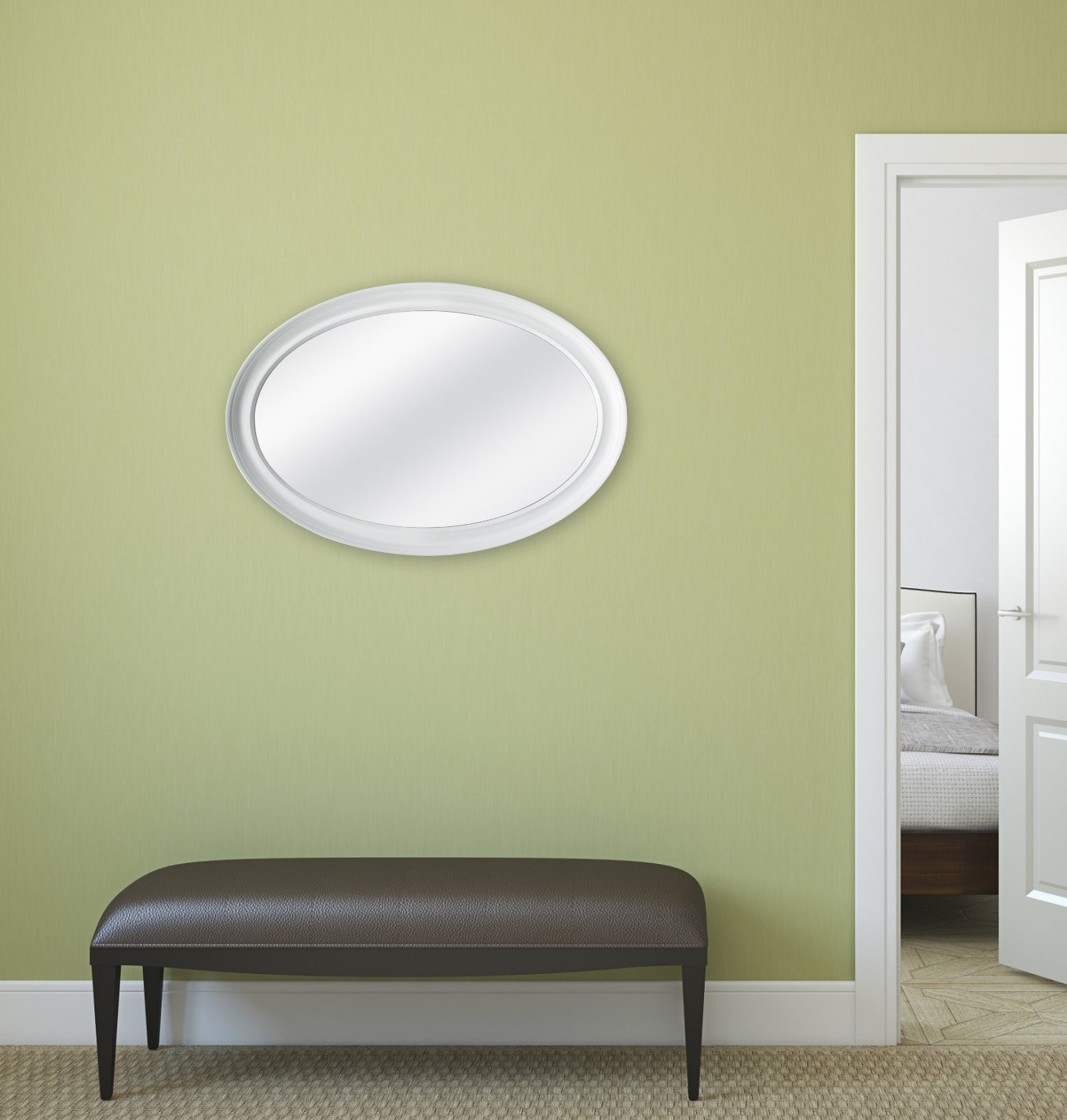Amazon.com: MCS Oval Wall Mirror, 21x31 Inch Overall Size, White ...
