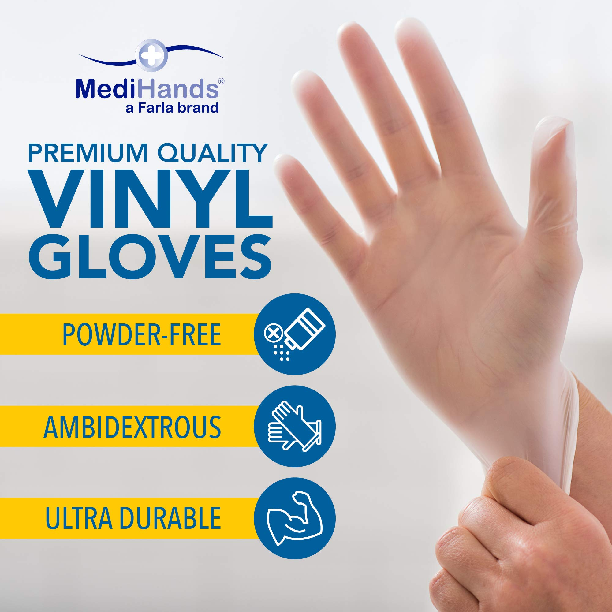 Heavy Duty Disposable Vinyl Gloves, 1,000 Count, Medium – Powder Free, Ambidextrous, Super Comfortable, Extra Strong, Durable and Stretchy, Medical, Food and Multi Use – By MediHands by MediHands (Image #2)