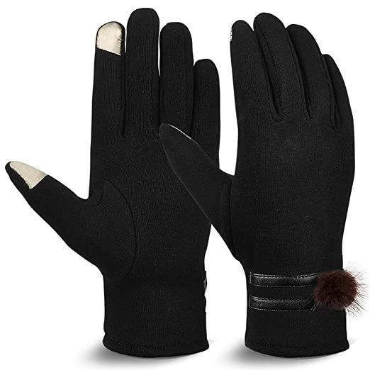 393b13971 Vbiger Womens Winter Gloves Touch Screen Gloves Thick Warm Windproof  Mittens (Black 4)