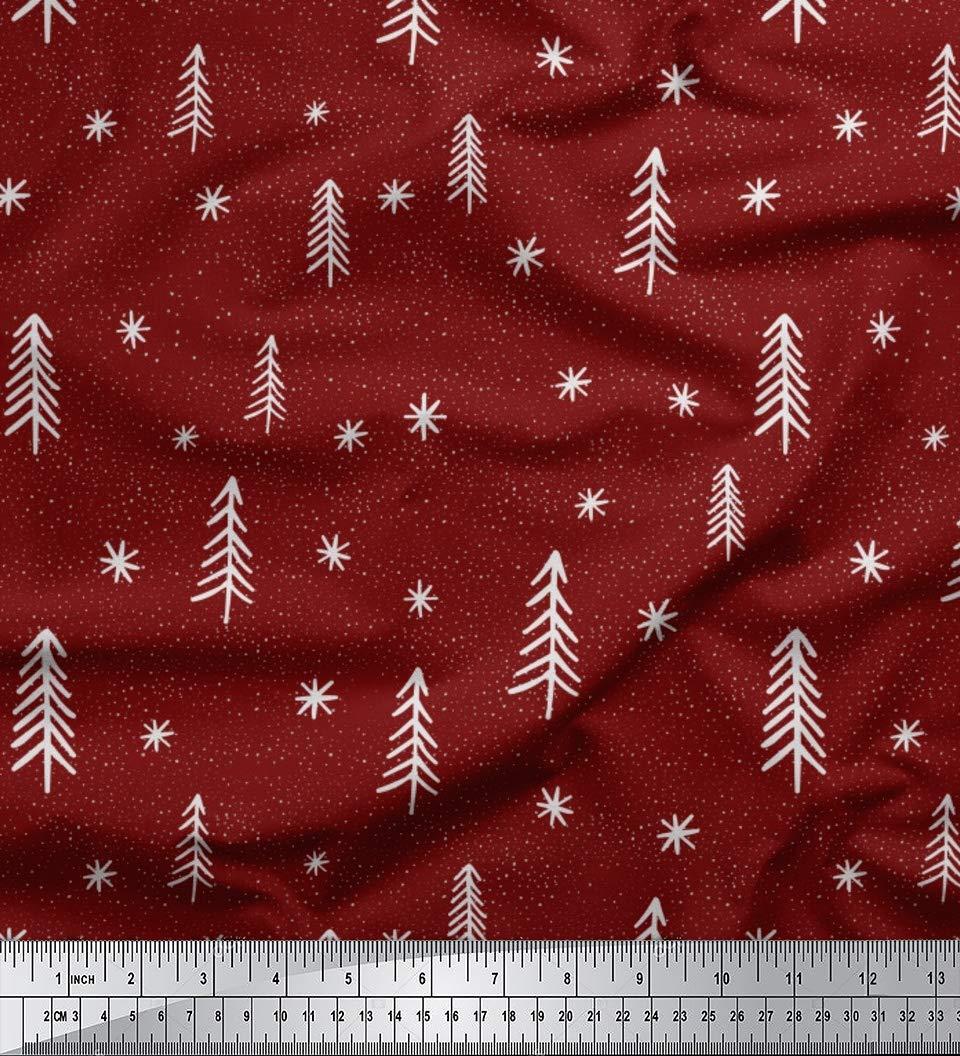 Amazon com: Soimoi Red Cotton Voile Fabric Asterisk & Snow Nature