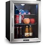 Klarstein Beersafe M Kühlschrank mit Glastür • Mini-Kühlschrank • Mini-Bar • 35 Liter • LED-Innenbeleuchtung • 5 Kühlstufen • 0 bis 10 °C • nur 42 dB • Edelstahlrahmen • inkl. 2 x Metallrost • schwarz