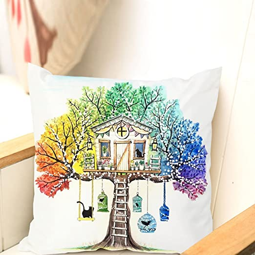 Treehouse Pattern Graffiti Coloring Pillowcases 18 Inch Square for ...
