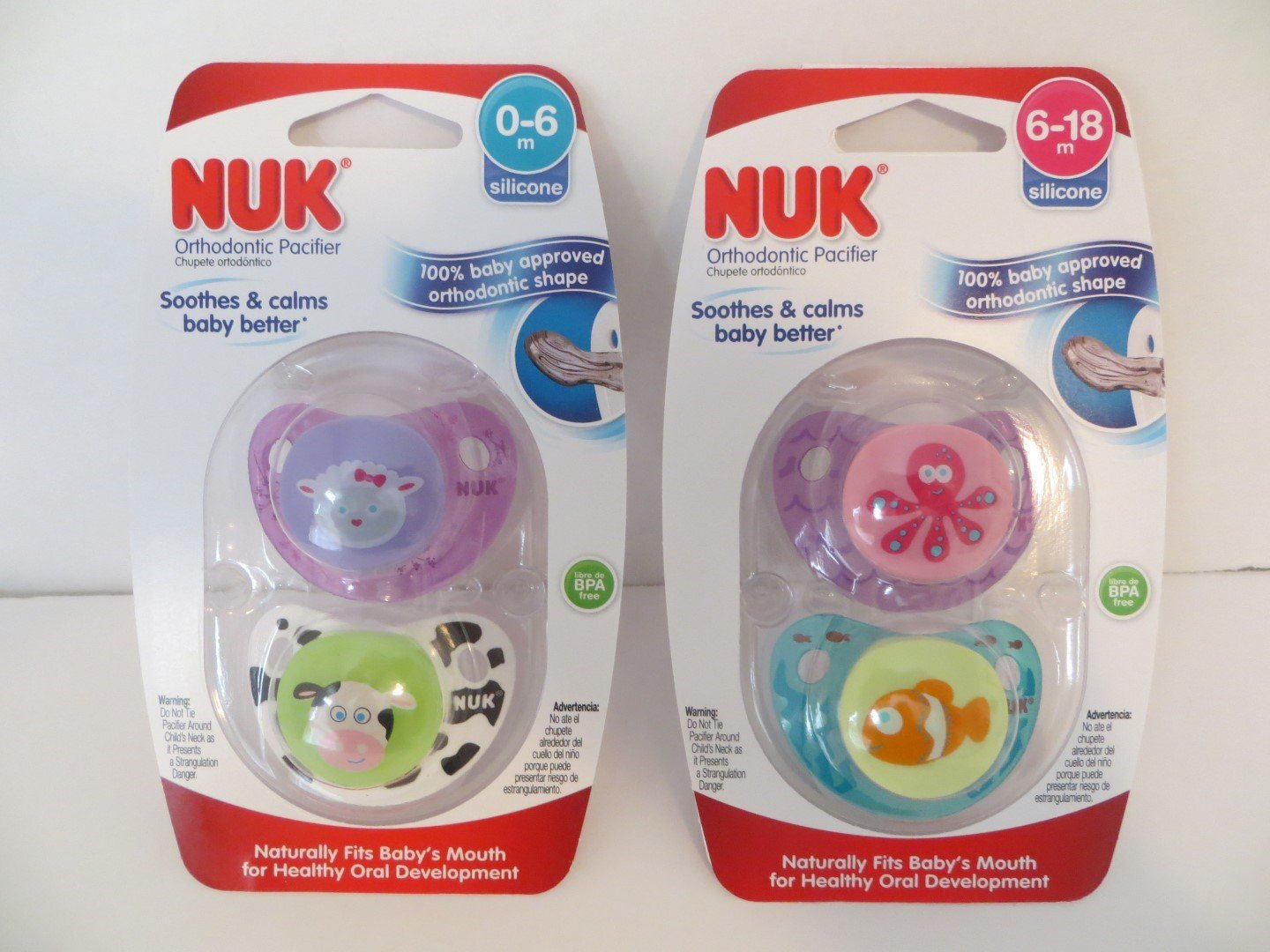 Amazon.com : Nuk Orthodontic Pacifiers 0-6mo PLUS 6-18 mo ...