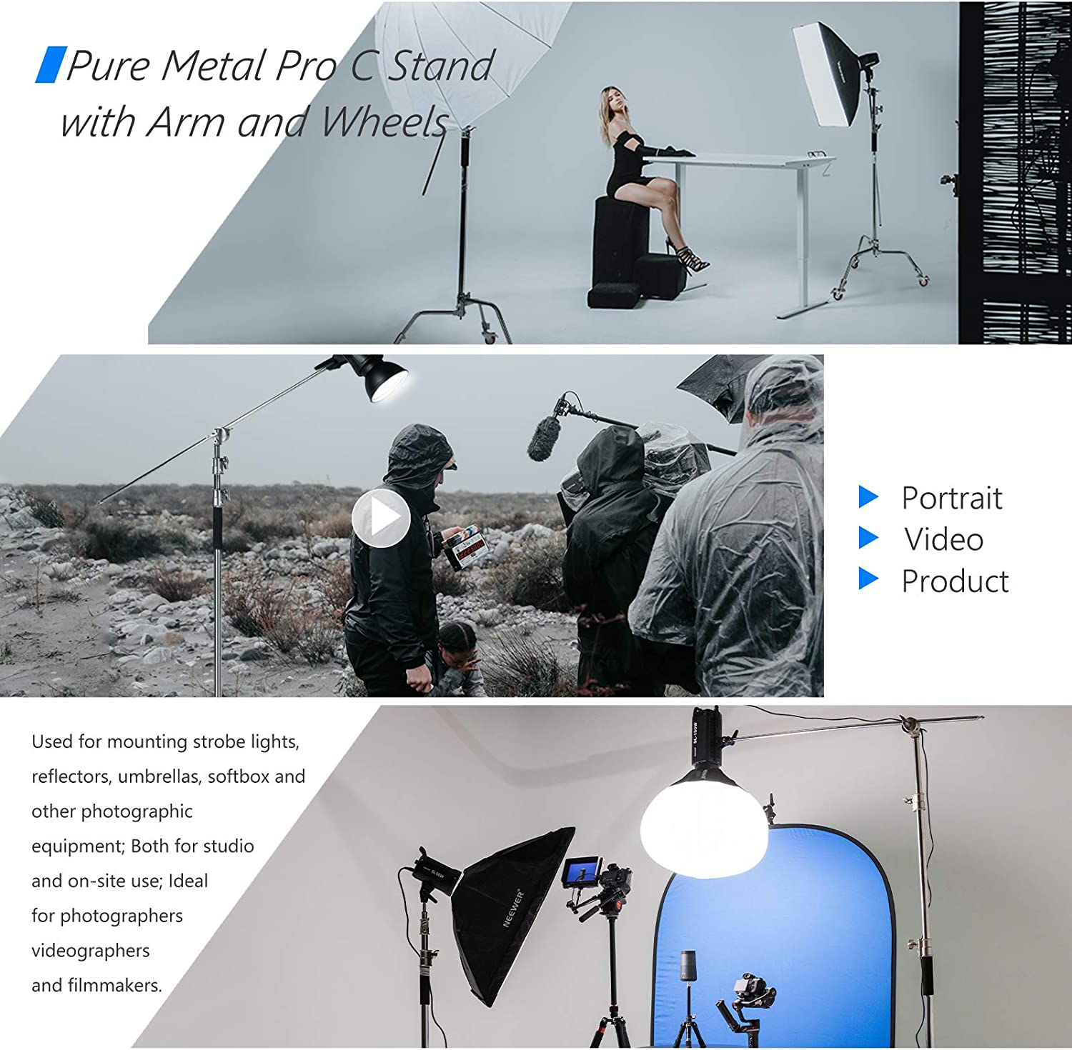etc Monolight Max Neewer Pro 100/% Metal C Stand Light Stand with Wheels Height 10.8ft//330cm Adjustable Reflector Stand with 4ft//120cm Boom Arm /& 3 Pulleys for Photo Studio Video Reflector