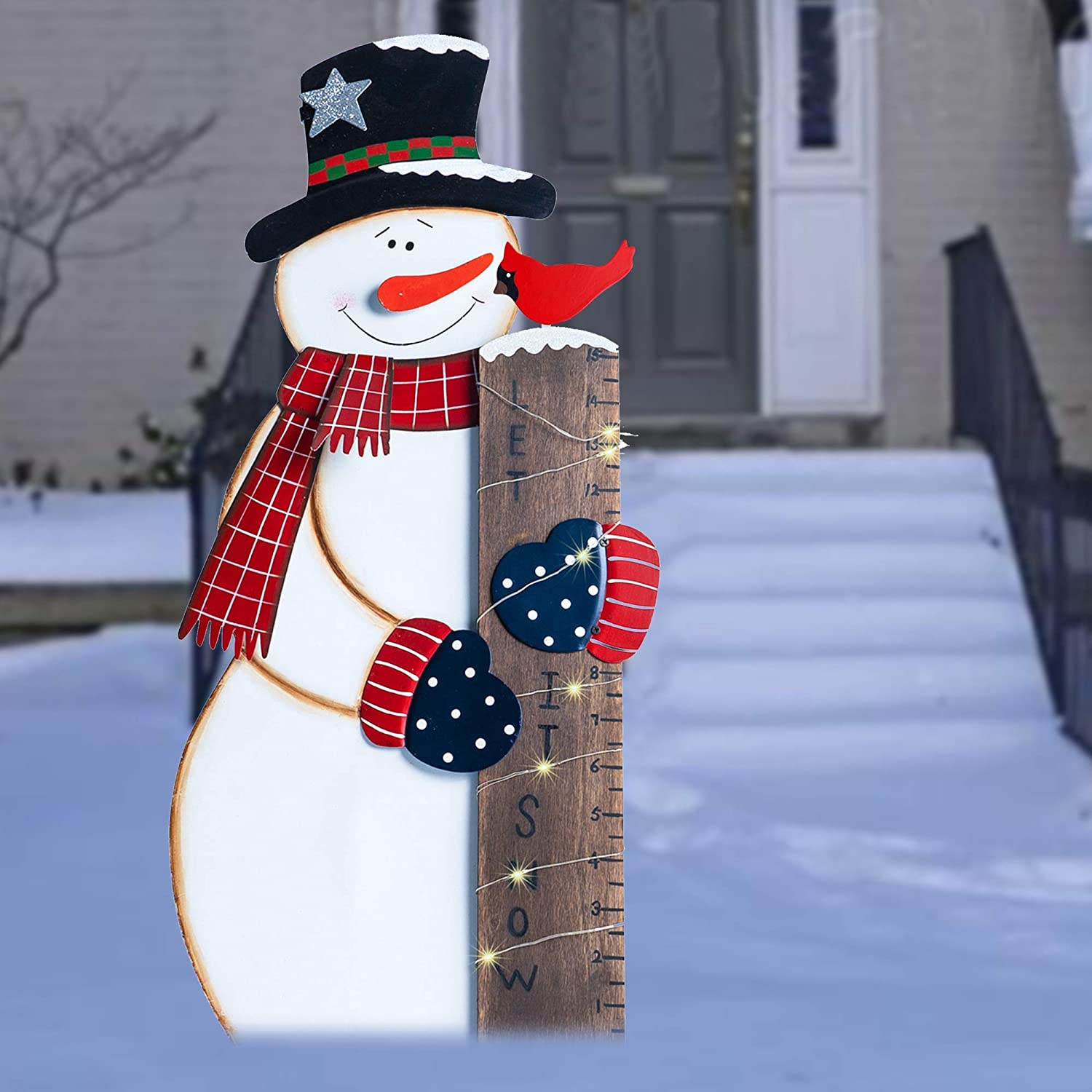 FUNPENY Happiness Snowman Snow Gauge, Snow Measurement Welcome Yard Sign, Outdoor Lawn, Party, Christmas Decorations (28 in)