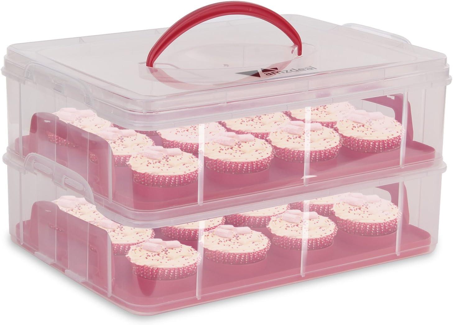 Amzdeal Caja para Tarta Plástico Cupcake Carrier con 3 Capas Portacupcakes para Transporta Cupcakes, Tarta, Latas, Molletes, Galletas para 36 Cup Cakes (rojo): Amazon.es: Hogar
