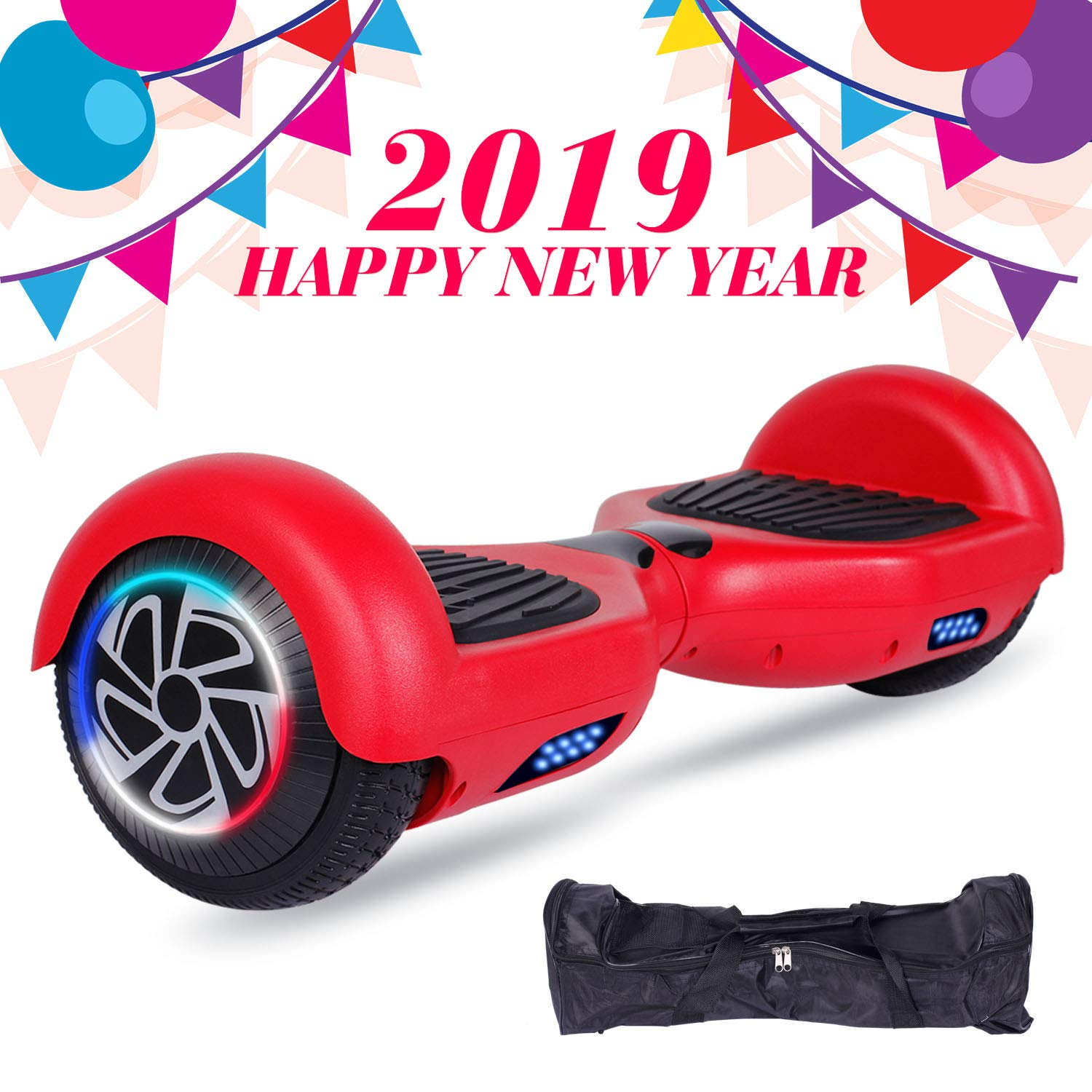 SISIGAD Hoverboard Self Balancing Scooter 6.5'' Two-Wheel Self Balancing Hoverboard with LED Lights Electric Scooter for Adult Kids Gift UL 2272 Certified - Red by SISIGAD (Image #1)