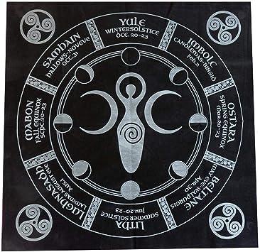 Beauti-chen Tarot Cloth: Triple Goddess with Pentagram - 4949CM (Gold/Silver On Black Pentacle/Pentagram) Stunning