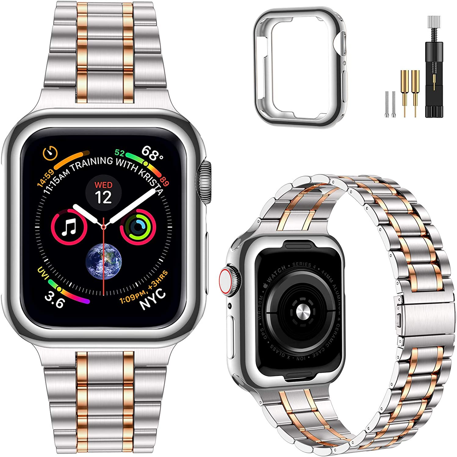 MioHHR Solid Stainless Steel Band Compatible with Apple Watch Bands 44/ 42/ 40/ 38mm, Upgraded Version Metal Replacement Wristbands Strap for iWatch SE Series 6/5/4/3/2/1