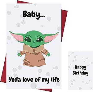 Funny Baby Yoda Birthday Card – Baby Yoda Anniversary Card – Star Wars Happy Birthday Card – Star Wars Birthday Card – with Enveloppe