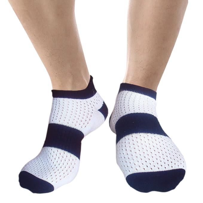 JHosiery Hombre ventilados calcetines deportivos con costuras mínimas (39-42, 2 pares blanco