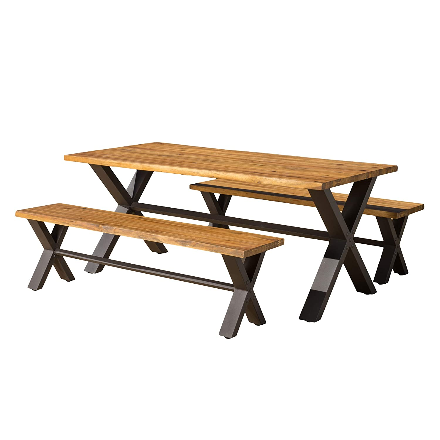 Amazon.com: Great Deal Furniture Laurel | 3 Piece Solid Wood Outdoor Dining  Set | Perfect for Patio | with Teak Finish: Garden & Outdoor - Amazon.com: Great Deal Furniture Laurel 3 Piece Solid Wood Outdoor