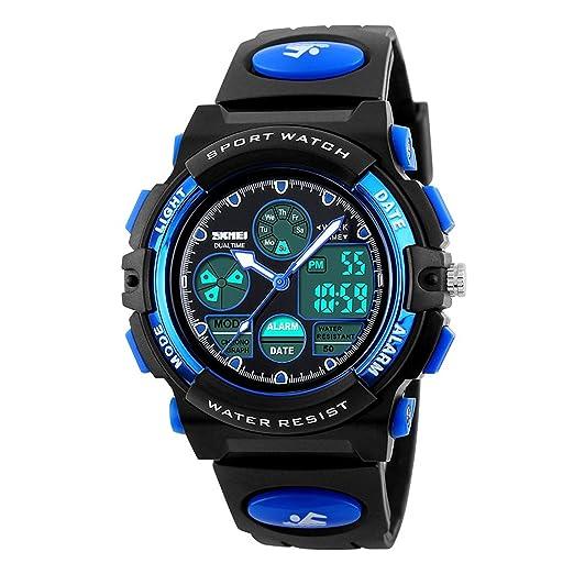 Niños Deportes reloj digital, niños niñas al aire libre impermeable relojes niños analógico reloj de pulsera de cuarzo, color azul: Amazon.es: Relojes
