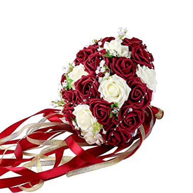 Wedding Bridal Bouquet, Febou Wedding Bride Bouquet, Wedding Holding Bouquet with Artificial Roses Lace Pearl Long Ribbon, Perfect for Wedding, Church (Dark Red+White)