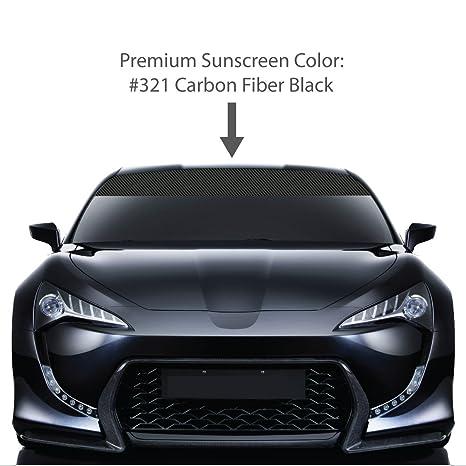 6quot X 48quot CARBON FIBER Windshield Visor Sun Screens BLACK Vinyl