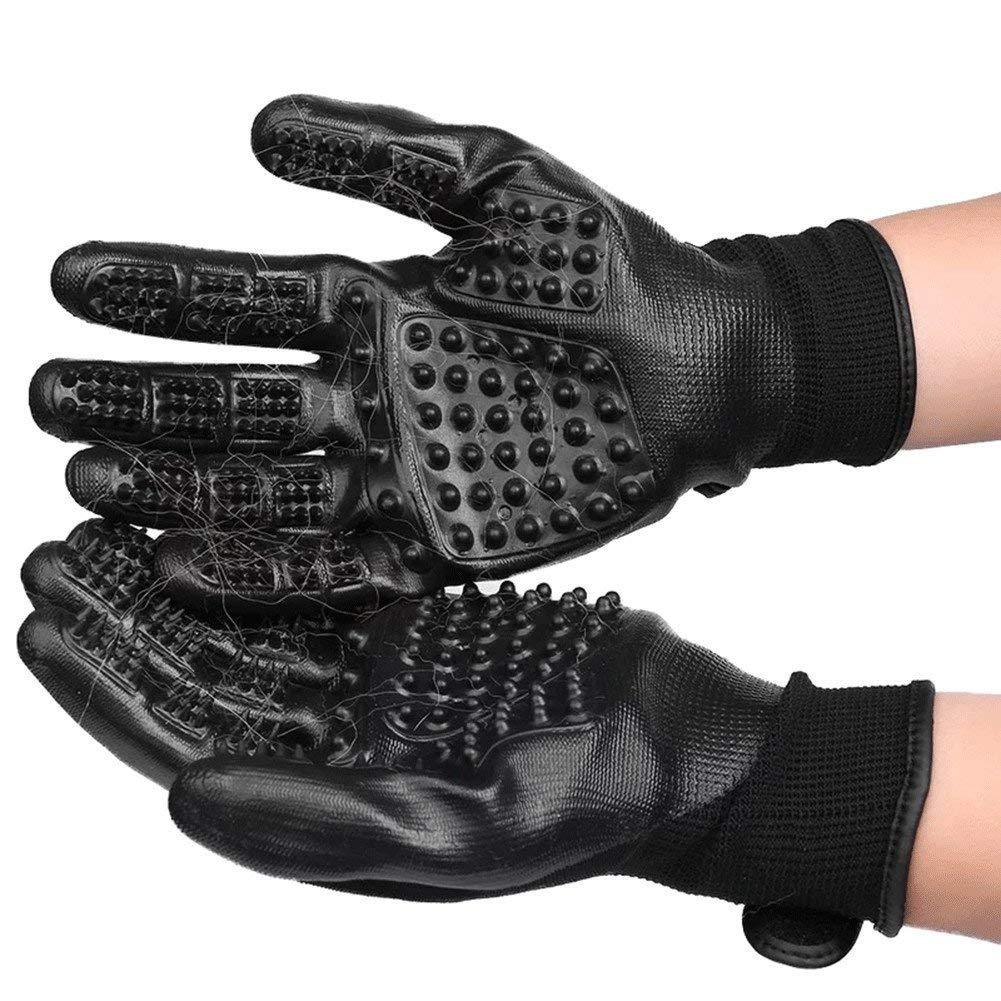 Pet Grooming Gloves - Left & Right - for Cats, Dogs & Horses - Long & Short Fur - Gentle De-Shedding Brush - Pet to Float Hair Beauty Gloves,4PCS